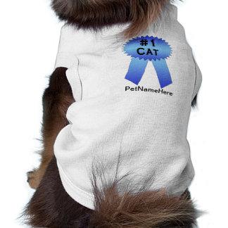 #1 Cat Prize Ribbon Blue Shirt