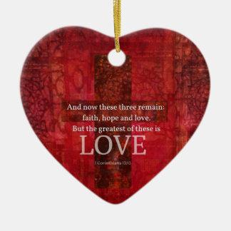 1 Corinthians 13:13 BIBLE VERSE ABOUT LOVE Ceramic Heart Decoration