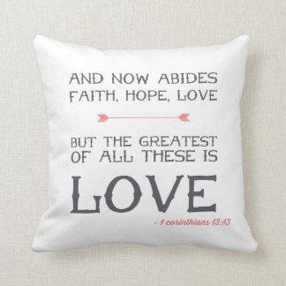 1 Corinthians 13:13   Bible Verse Art Cushion