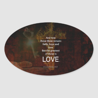 1 Corinthians 13:13 Bible Verses Quote About LOVE Oval Sticker