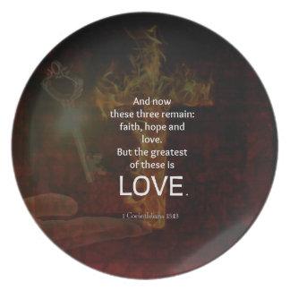 1 Corinthians 13:13 Bible Verses Quote About LOVE Plate