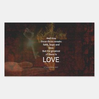 1 Corinthians 13:13 Bible Verses Quote About LOVE Rectangular Sticker