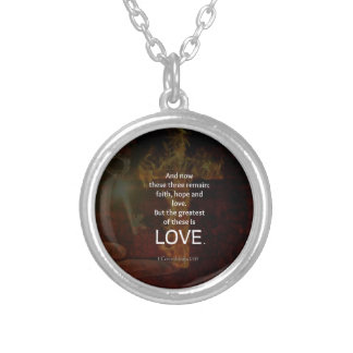 1 Corinthians 13:13 Bible Verses Quote About LOVE Silver Plated Necklace