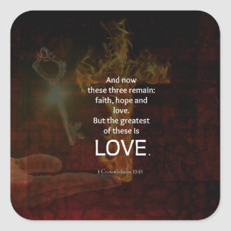 1 Corinthians 13:13 Bible Verses Quote About LOVE Square Sticker