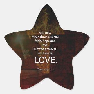 1 Corinthians 13:13 Bible Verses Quote About LOVE Star Sticker