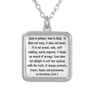 1 Corinthians 13:4-7 Bible Verse Necklace