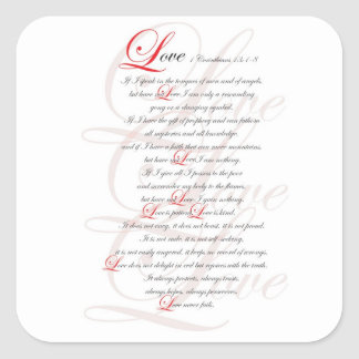 1 Corinthians 13 Square Sticker