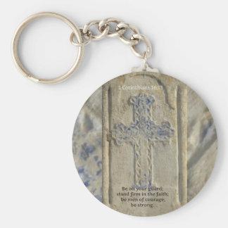 1 Corinthians 16:13  Faith Bible Verse Basic Round Button Key Ring