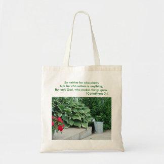 1 Corinthians 3:7, Watering Can & Plants, So ne... Tote Bag