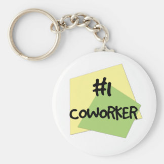 #1 Coworker Basic Round Button Key Ring