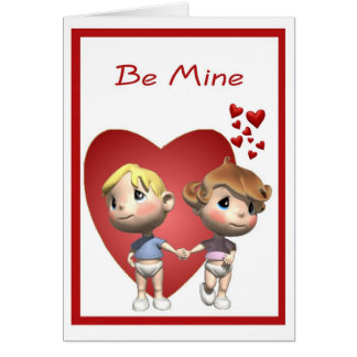 1. Cute Baby Boy & Girl Caricatures Valentine Greeting Card