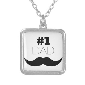 #1 Dad Black Mustache - Number One Silver Plated Necklace