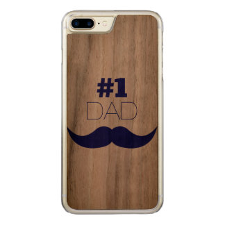 #1 Dad Blue Mustache - Number One Carved iPhone 8 Plus/7 Plus Case