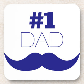 #1 Dad Blue Mustache - Number One Coaster
