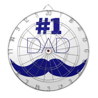 #1 Dad Blue Mustache - Number One Dartboard