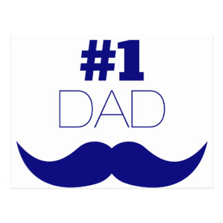 #1 Dad Blue Mustache - Number One Postcard