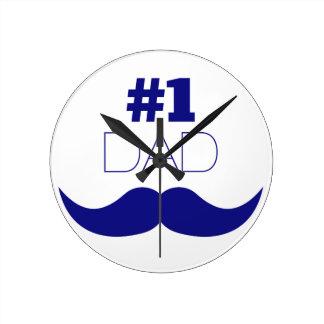 #1 Dad Blue Mustache - Number One Round Clock