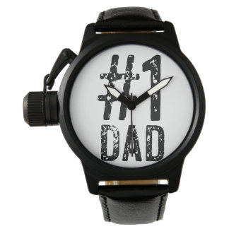 #1 Dad Crown Protector Black Leather Watch