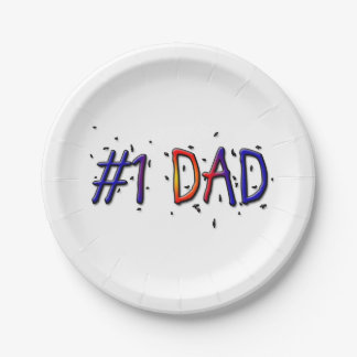 #1 Dad Father's Day Paper Plates 7 Inch Paper Plate