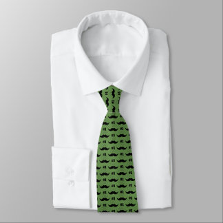 #1 Dad Green and Black Mustache - Number One Tie