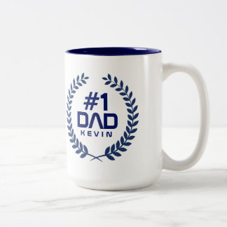 #1 DAD Navy Blue Wreath Custom Name Two-Tone Mug