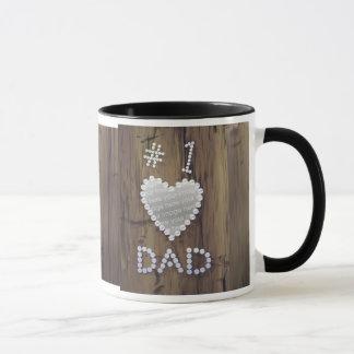 #1 Dad on Wood (photo frame) Mug