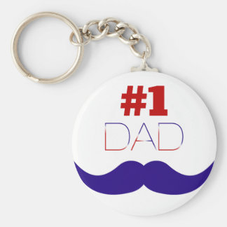 #1 Dad Red White and Blue Mustache - Number One Key Ring