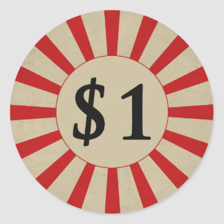 $1 (Dollar) Round Glossy Price Tag Round Sticker