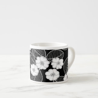 1 Espresso Mug Damask Floral Gray Black White