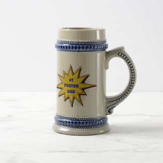 #1 Foster Dad Super Hero Design Beer Stein