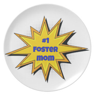 #1 Foster Mom Super Hero Design Plate