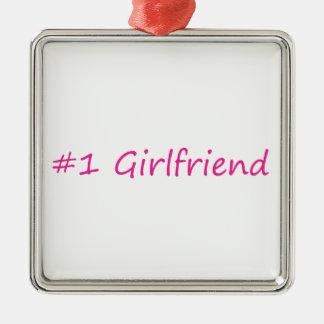 #1 Girlfriend Silver-Colored Square Decoration