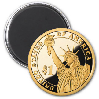 $1 Gold Coin Statue of Liberty 6 Cm Round Magnet
