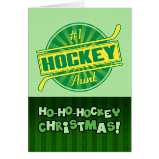 #1 Hockey Aunt Christmas Card Greeting Card