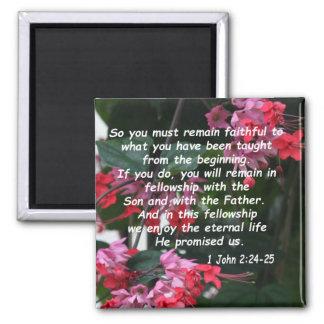 1 John 2:24-25 Square Magnet