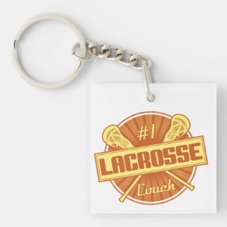#1 Lacrosse Coach (orange) Key Ring