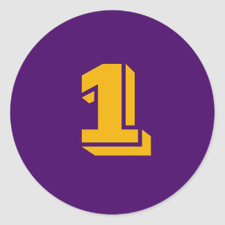 1 Large Round Purple Gold Number Stickers by Janz