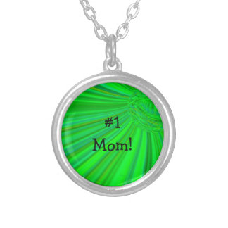 #1 Mom Green Radiating Planet Necklace