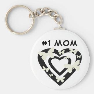 #1 Mom, open hearts, white butterflies Key Ring