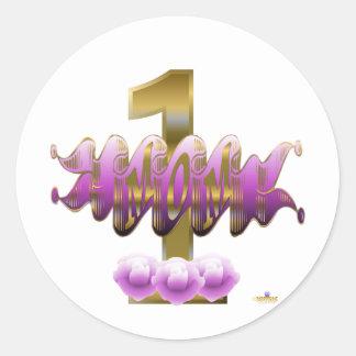 #1 Mom Purple Roses Round Stickers