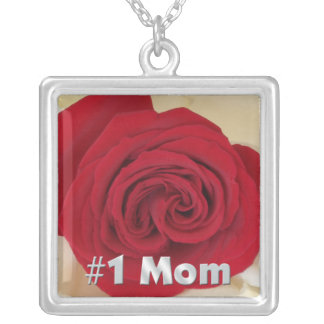 #1 Mom Red Rose Necklace