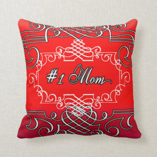 #1 Mom Red Typography Mother's day Cushion