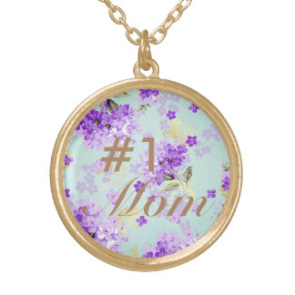 #1 Mom Vintage Purple Floral Gold Plated Necklace