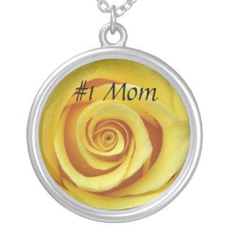#1 Mom Yellow Rose Round Pendant Necklace