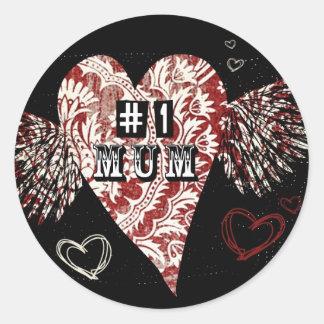 1 Mum Urban Fleur Winged Heart Round Stickers
