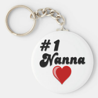 #1 Nanna Grandparent's Day Gifts Basic Round Button Key Ring