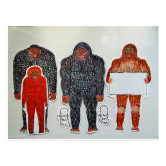 1 Neanderthal & 3 Big foot,on white,.JPG Postcard