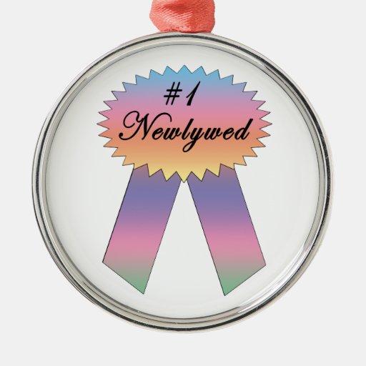 #1 Newlywed Prize Ribbon Christmas Tree Ornament