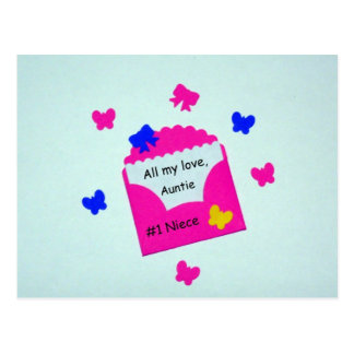 #1 Niece  All my love, Auntie Postcard