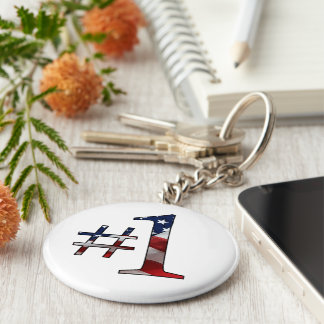 #1 (Number 1) Basic Round Button Key Ring